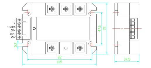 概述   1、JG-系列三相整流固态调压器采用进口大规模集成电路设计,内部集三相过零检测电路、移相控制电路、触发驱动电路、六路单向可控硅组成的全桥、RC阻容吸收回路及电源电路等于一体,在自动或手动调节的输入控制作用下,产生三相可改变导通角的强触发脉冲信号再去分别控制内部可控硅,实现三相交流电直接转换成幅值无级可调的脉动直流电压,负载上的电压从0V到电网全电压的全范围调节。模块典型应用于各种电源、稳压、直流电机、励磁、电焊、电镀、充电等场合。   2、0-5Vdc、0-10Vdc、4-20mA等全兼容